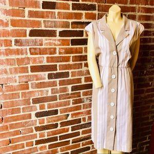 Vintage 80s Gray Striped Sleeveless Cotton Dress